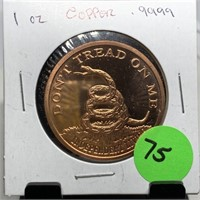 1 OZ COPPER .999 BULLION MEDALLION