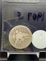 1907-S BARBER SILVER QUARTER COIN