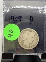 1909-D BARBER SILVER QUARTER COIN
