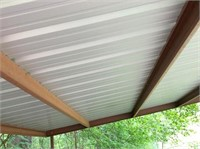 """20x20 metal shed: front 9'6'' tall & back 92"""" tall"""