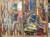 2-boxes pliers, screwdrivers, wrenches & misc.