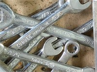 box of pop rivets, fence pliers, crescent wrenches
