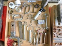 box of draw pins, hole cutters,& misc. tools