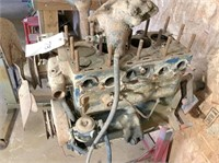 Jeep motor, manifold,& engine stand