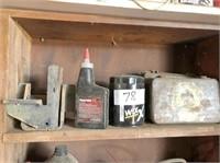 fluids on top white shelf