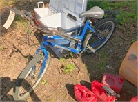 gas cans, bicycle & ice chest