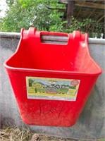galvanized water trough, plastic feed bin & rubber