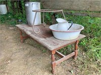 wood coffee table, wrought iron plant stand,