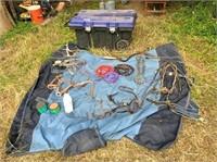 horse blanket, lead ropes, halters,bits, hoof flex