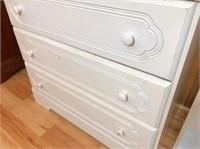 white 5-drawer chest 31x16x48 H & white book shelf
