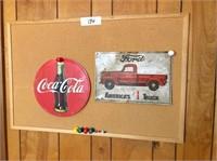 metal coke sign, metal Ford truck sign & bulletin