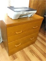 2-drawer wood file cabinet & Cannon printer