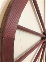 metal wall decor & wood wheel