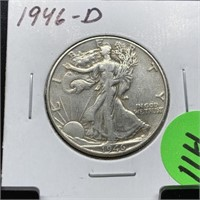 1946-D WALKING LIBERTY SILVER HALF DOLLAR