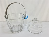 Glass Ice Bucket & Cheese Tray Cover