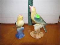 "2 Vintage Bird Figurines 6&3/8"" and 5"""