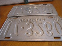 Pair 1948 Nebraska License Plates 17-3260