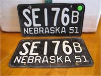 Pair 1951 Nebraska License Plates SE176B