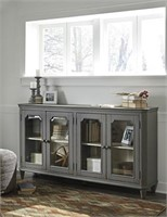 """T505-662 Ashley 68"""" Gray Glass Door Accent Cabinet"""