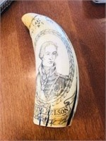 Scrimshaw HMS Victory ship Horatio Nelson 7 in