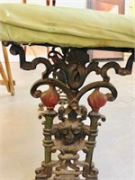 Victorian Ornate Cast Iron bench original Paint
