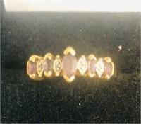10K Gold Amethyst & Diamond Ring sz. 7