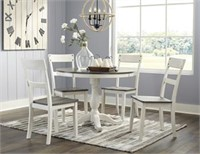 Ashley D287 Antique White Round Table & 4 Chairs