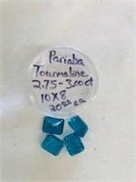4 loose gemstones Pariaba Tourmalines