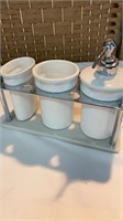 Stainless & Porcelain Bathroom Set