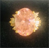 10K Gold Pink Ice Ring