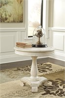 Ashley T505-106 Antique White Round  Accent Table