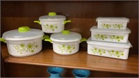 12 pc Green Floral Microwave Cookware *Looks like