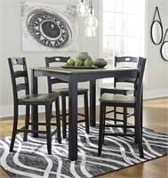 Ashley D338 5 pc Counter Table & 4 Bar Stools