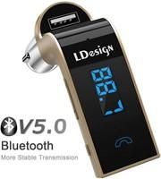 Gold Bluetooth In-car WIreless FM Transmitter