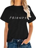 New friends short sleeve T-Shirt black size L.