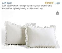 Decor Wheat Ticking Stripe Bedspread Shabby Chic