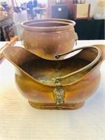 Pr. Antique Copper pot with lions heads ornament