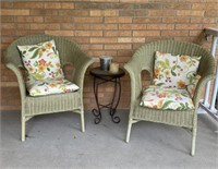 Outdoor Wicker Chairs, Cushions, Table