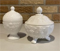 Milk glass Covered dishes