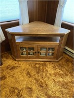 Corner TV Stand with Contents