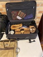 Suitcase, computer bag, and contents