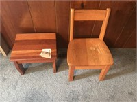 Wooden Chair and stool