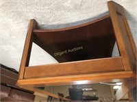 HARDWOOD COFFEE TABLE W/GLASS AND TILE TOP