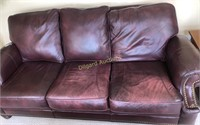 LEATHER SOFA, (HAS SOME WEAR)