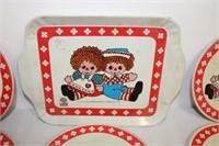 Raggedy Ann tin Tea Set - 15 pcs. - 1972
