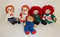 5 various Raggedy Ann & Andy dolls