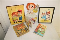 box of misc Raggedy Ann items