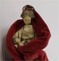 Vintage doll w/porcellion head & wax doll