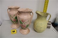"""2 Hull Pottery 12.5"""" vases (repaired) lg pitcher"""