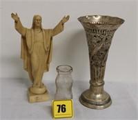"""12"""" Jesus figurine, 11.5 hamered metal vase"""